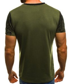 Mens slim fit O-neck tshirt green and black rhinogymwear.com